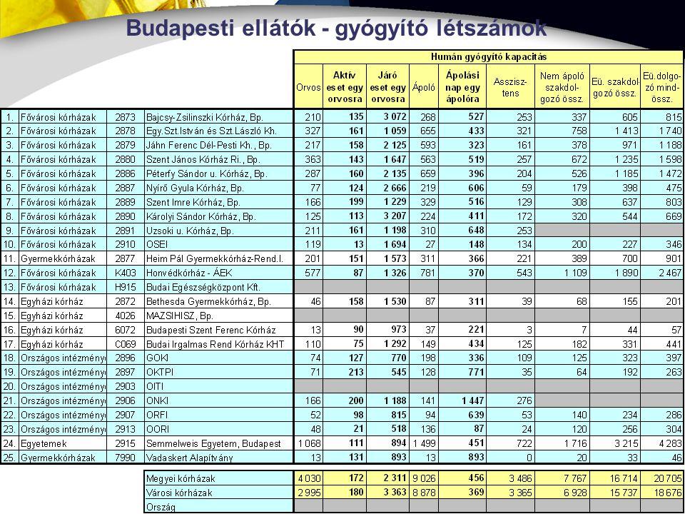 Budapesti ellátók - gyógyító létszámok