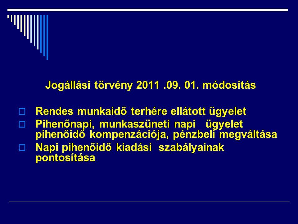 Jogállási törvény 2011 .09. 01. módosítás