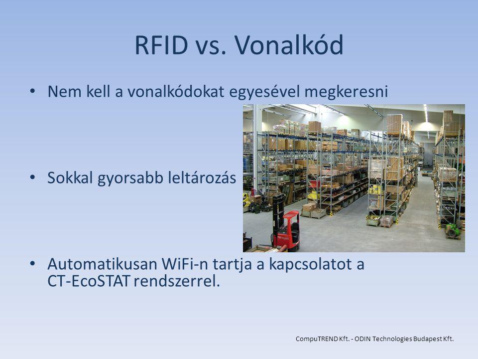 RFID vs. Vonalkód Nem kell a vonalkódokat egyesével megkeresni