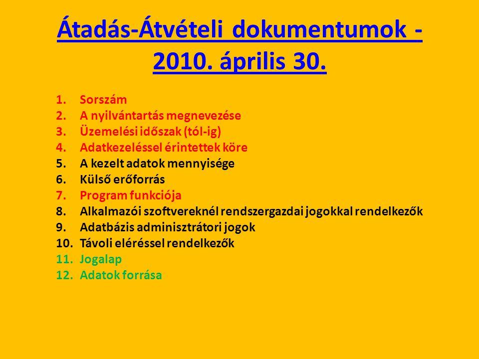 Átadás-Átvételi dokumentumok - 2010. április 30.