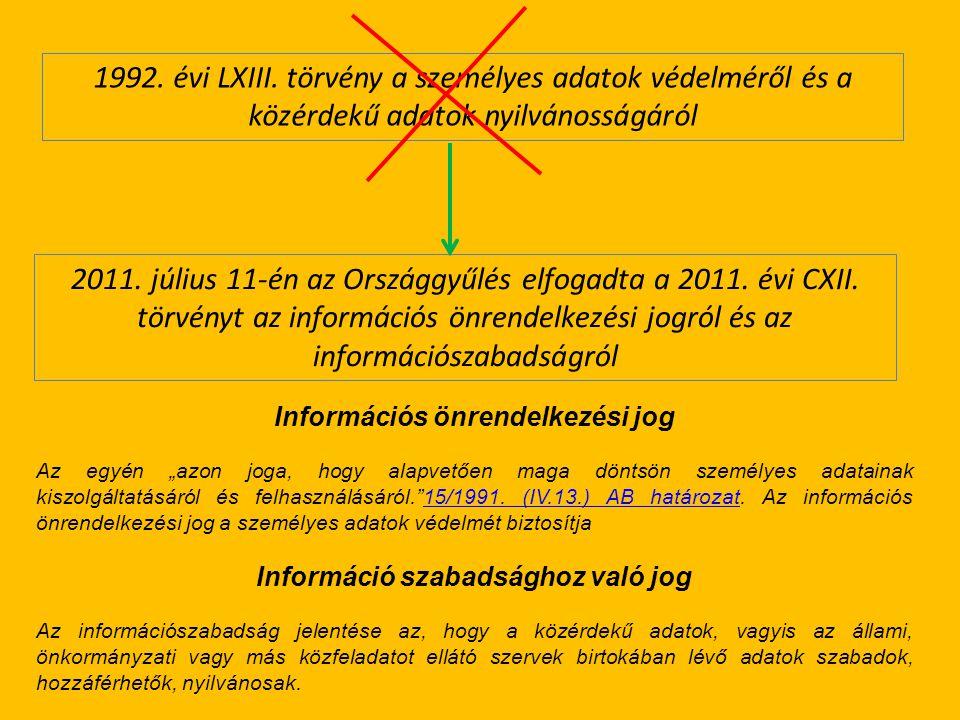 Információs önrendelkezési jog Információ szabadsághoz való jog