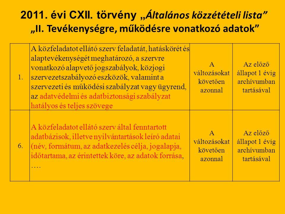 """2011. évi CXII. törvény """"Általános közzétételi lista """"II"""