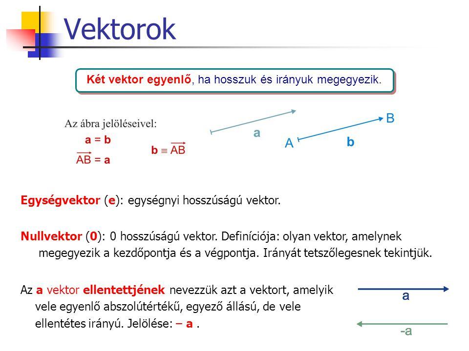 Két vektor egyenlő, ha hosszuk és irányuk megegyezik.
