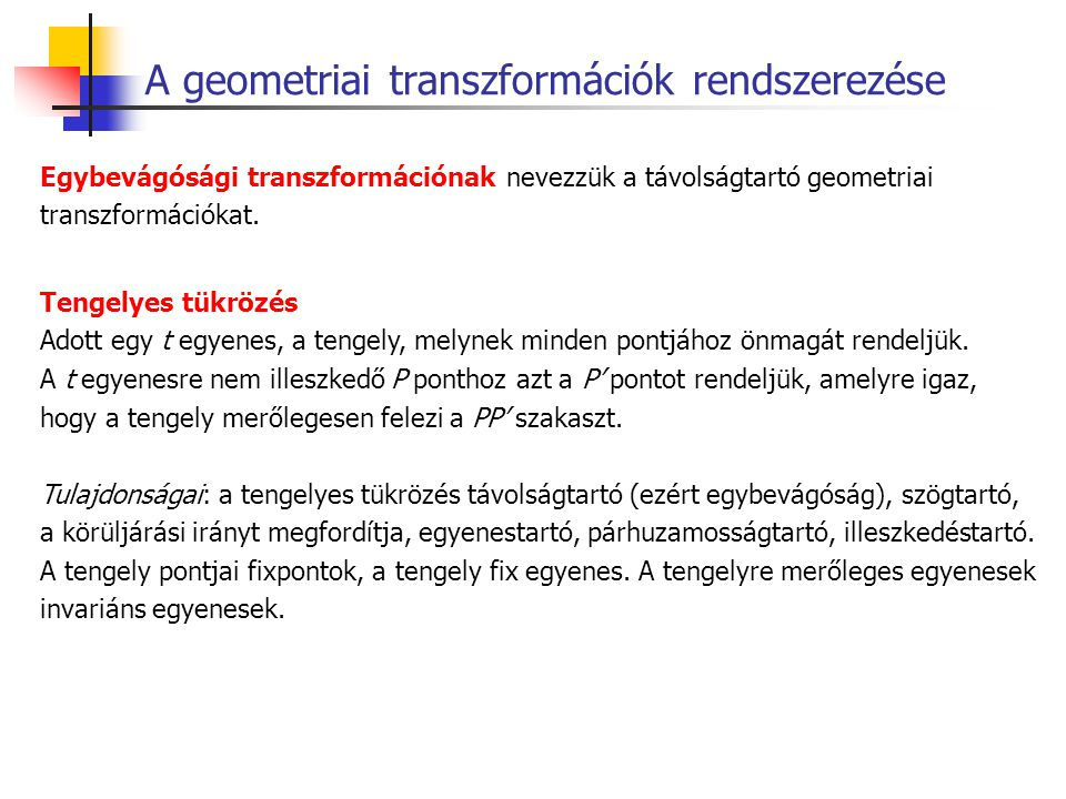 A geometriai transzformációk rendszerezése
