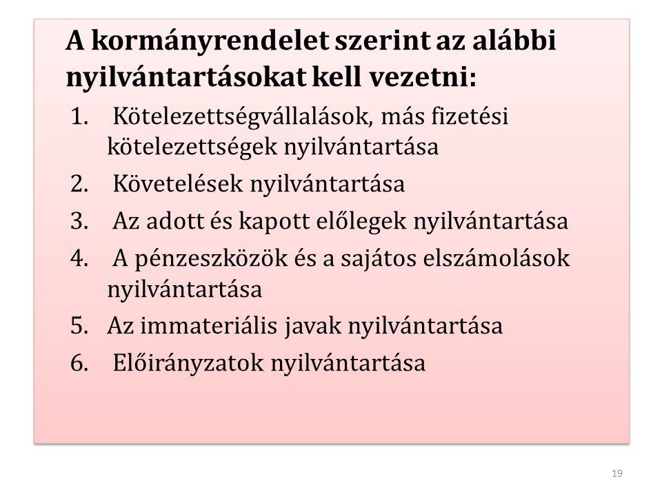 A kormányrendelet szerint az alábbi nyilvántartásokat kell vezetni: