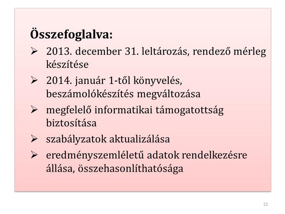 Összefoglalva: 2013. december 31. leltározás, rendező mérleg készítése