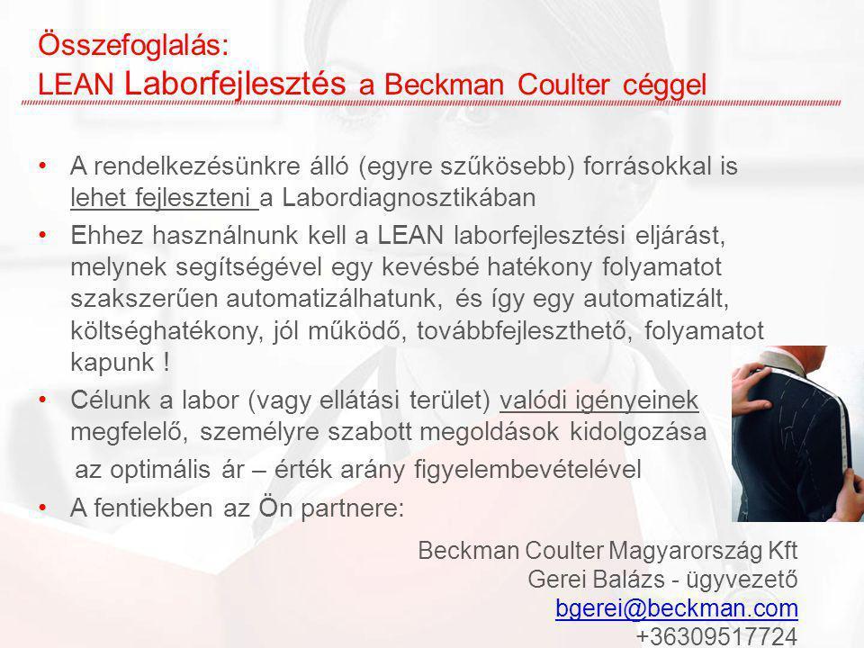 Összefoglalás: LEAN Laborfejlesztés a Beckman Coulter céggel