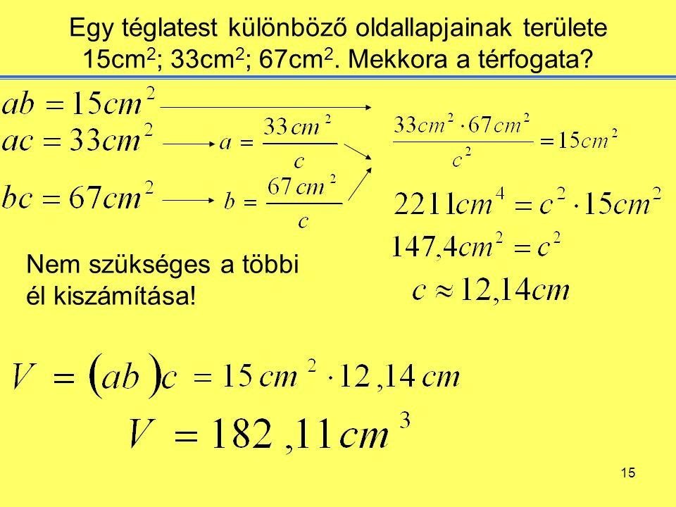 Egy téglatest különböző oldallapjainak területe 15cm2; 33cm2; 67cm2