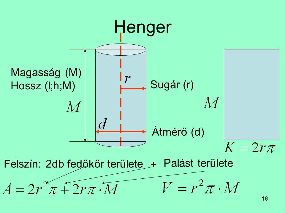 Henger Magasság (M) Hossz (l;h;M) Sugár (r) Átmérő (d)