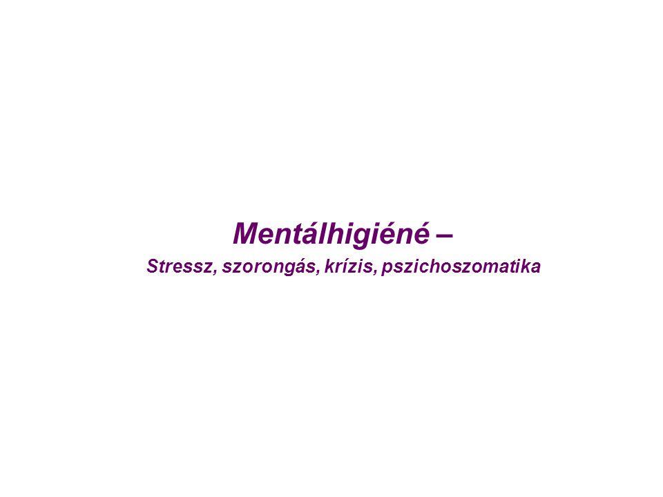 Stressz, szorongás, krízis, pszichoszomatika