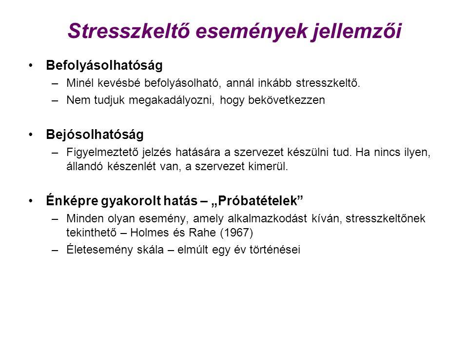 Stresszkeltő események jellemzői