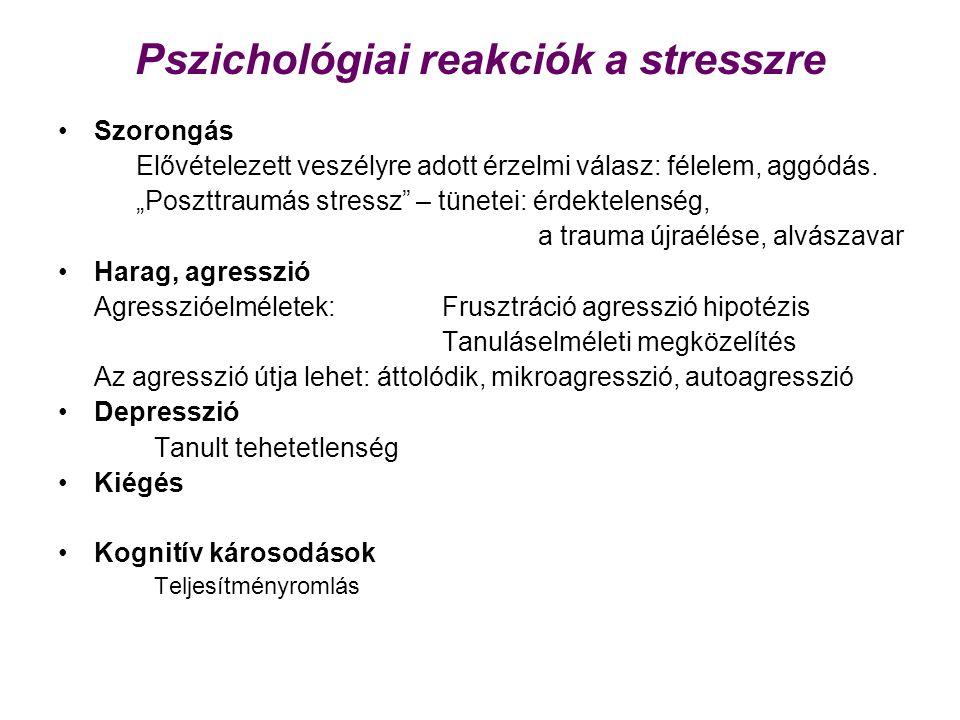 Pszichológiai reakciók a stresszre