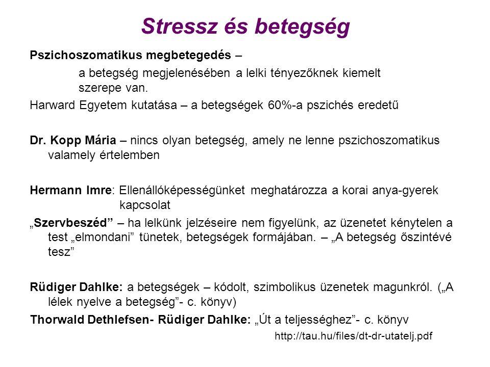 Stressz és betegség Pszichoszomatikus megbetegedés –