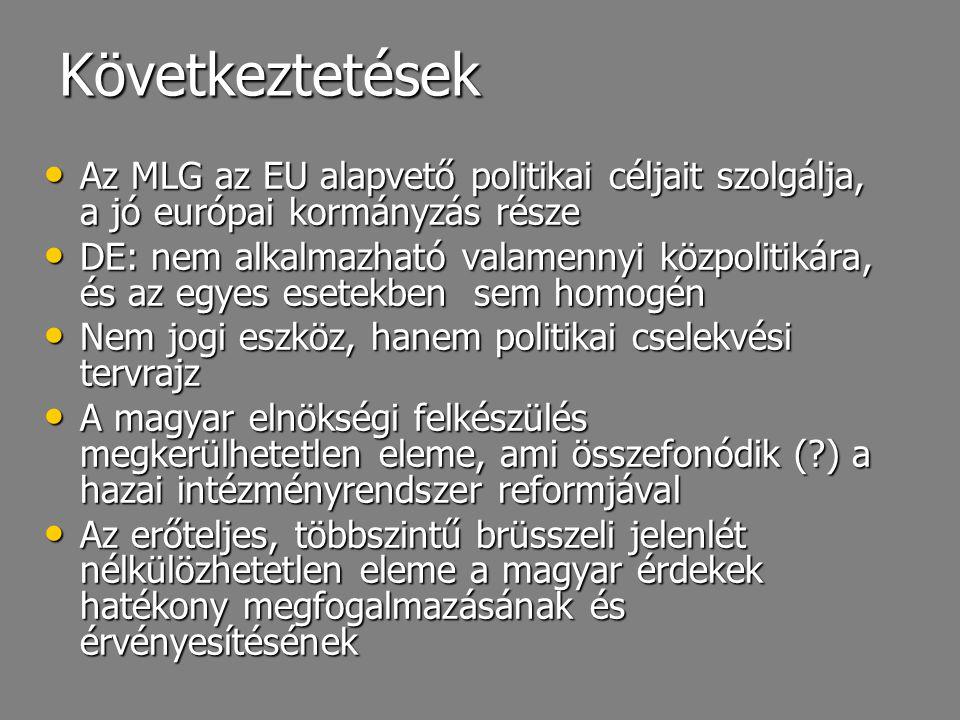 Következtetések Az MLG az EU alapvető politikai céljait szolgálja, a jó európai kormányzás része.