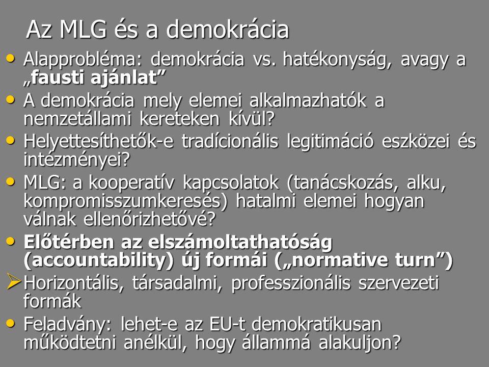"""Az MLG és a demokrácia Alapprobléma: demokrácia vs. hatékonyság, avagy a """"fausti ajánlat"""