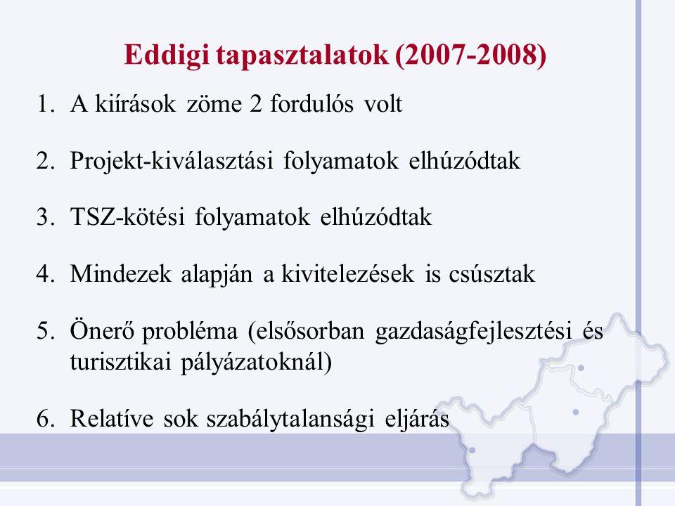 Eddigi tapasztalatok (2007-2008)