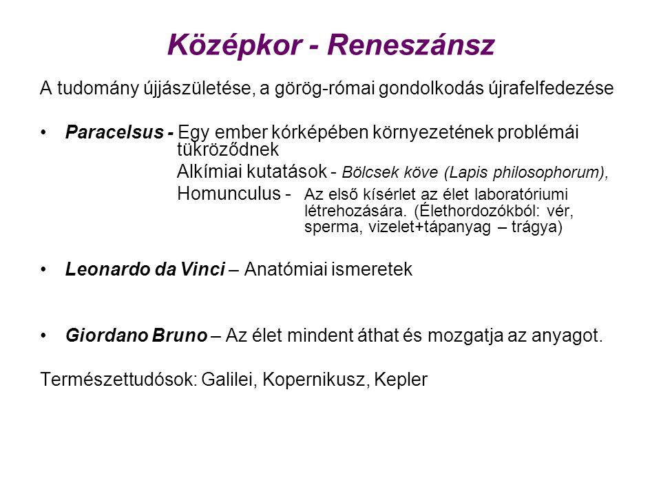 Középkor - Reneszánsz A tudomány újjászületése, a görög-római gondolkodás újrafelfedezése.