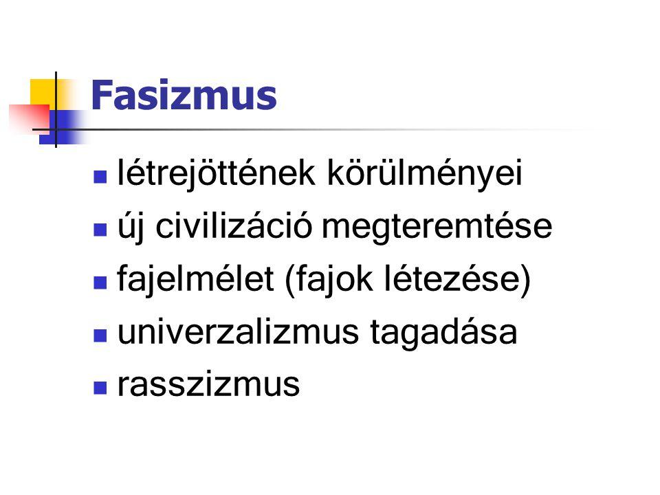 Fasizmus létrejöttének körülményei új civilizáció megteremtése