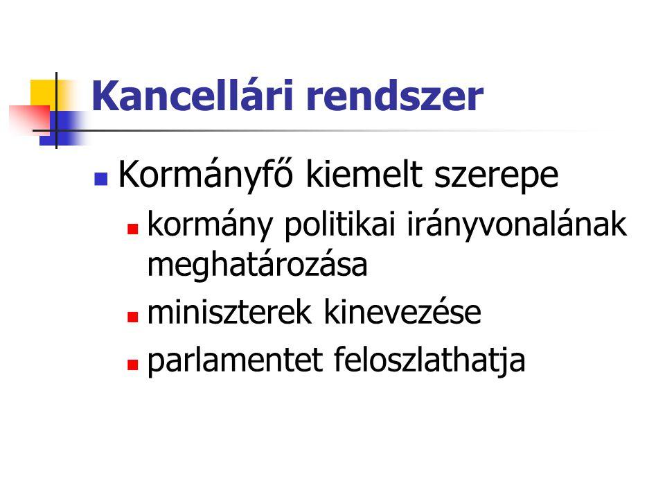 Kancellári rendszer Kormányfő kiemelt szerepe