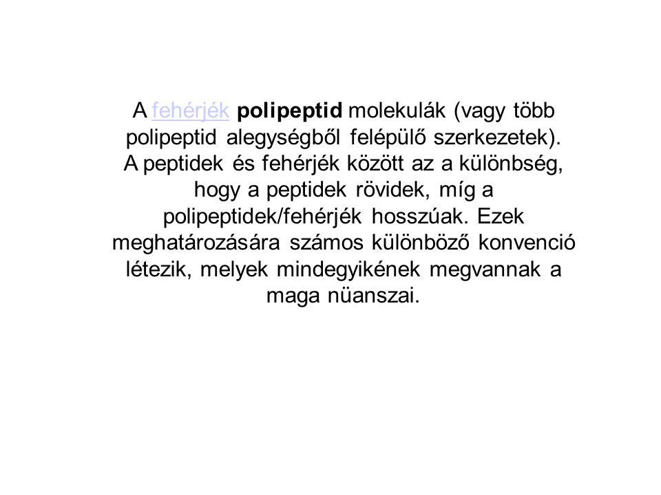 A fehérjék polipeptid molekulák (vagy több polipeptid alegységből felépülő szerkezetek).