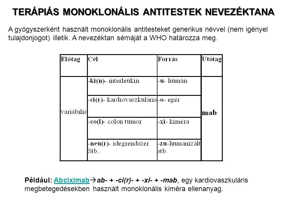 TERÁPIÁS MONOKLONÁLIS ANTITESTEK NEVEZÉKTANA