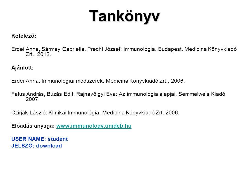 Tankönyv Kötelező: Erdei Anna, Sármay Gabriella, Prechl József: Immunológia. Budapest. Medicina Könyvkiadó Zrt., 2012.