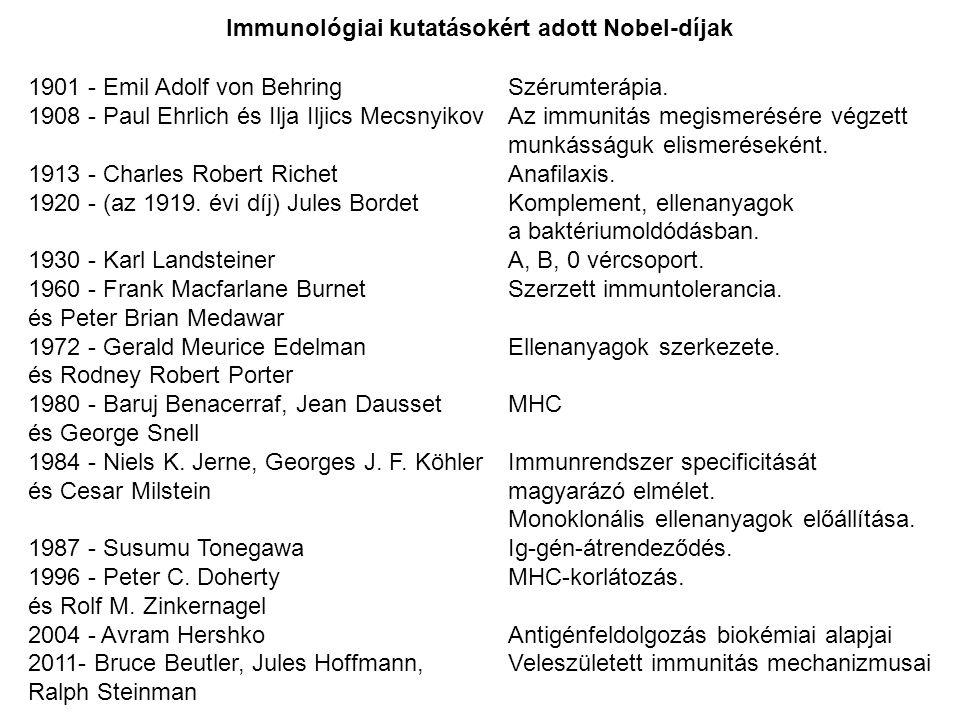 Immunológiai kutatásokért adott Nobel-díjak
