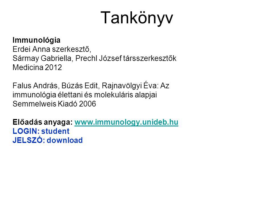 Tankönyv Immunológia Erdei Anna szerkesztő,