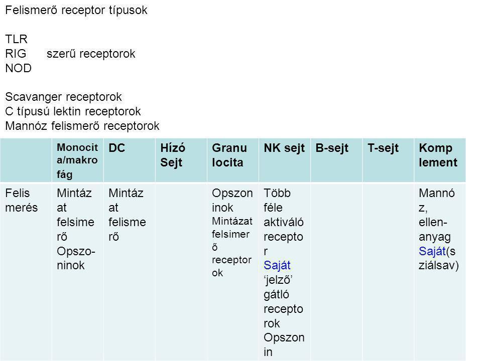 Felismerő receptor típusok TLR RIG szerű receptorok NOD