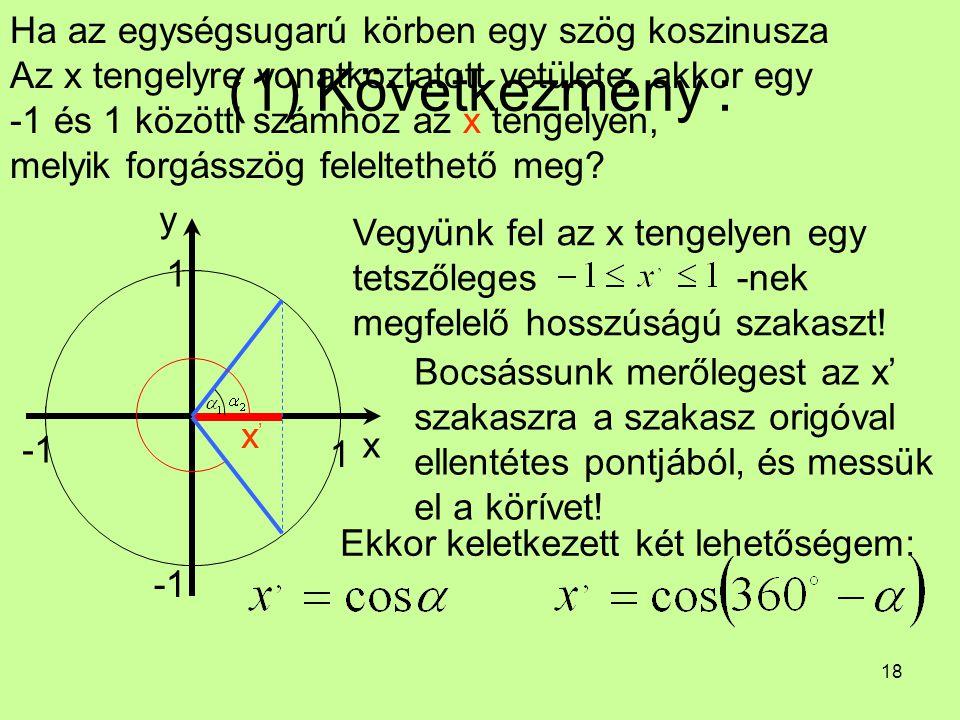 (1) Következmény : Ha az egységsugarú körben egy szög koszinusza