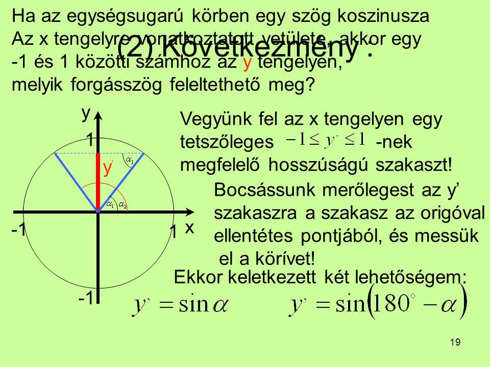 (2) Következmény : Ha az egységsugarú körben egy szög koszinusza