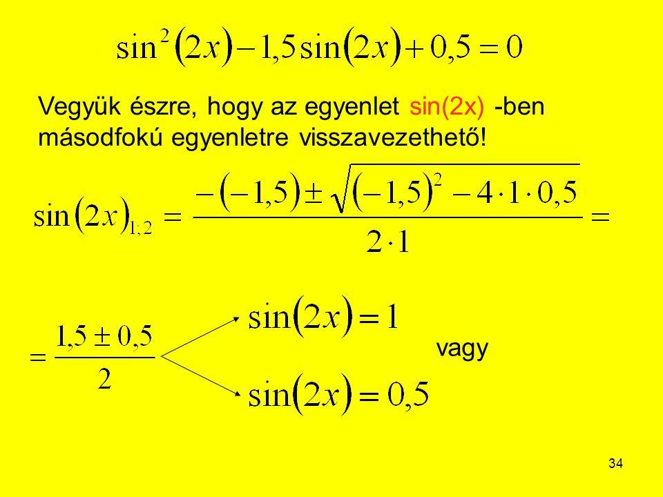 Vegyük észre, hogy az egyenlet sin(2x) -ben másodfokú egyenletre visszavezethető!