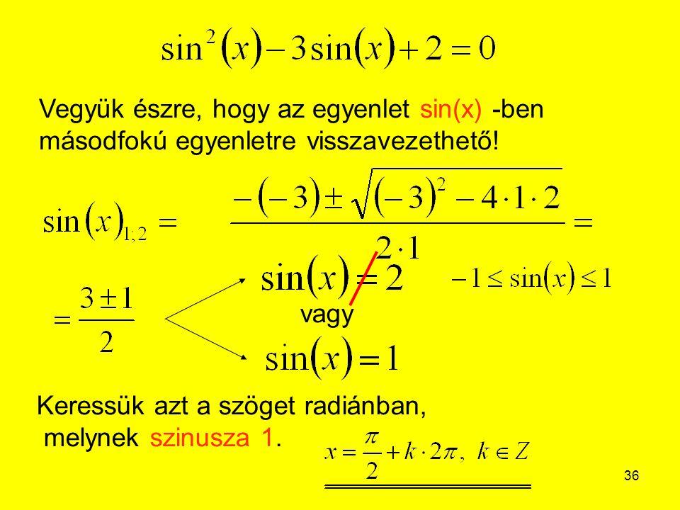 Vegyük észre, hogy az egyenlet sin(x) -ben másodfokú egyenletre visszavezethető!