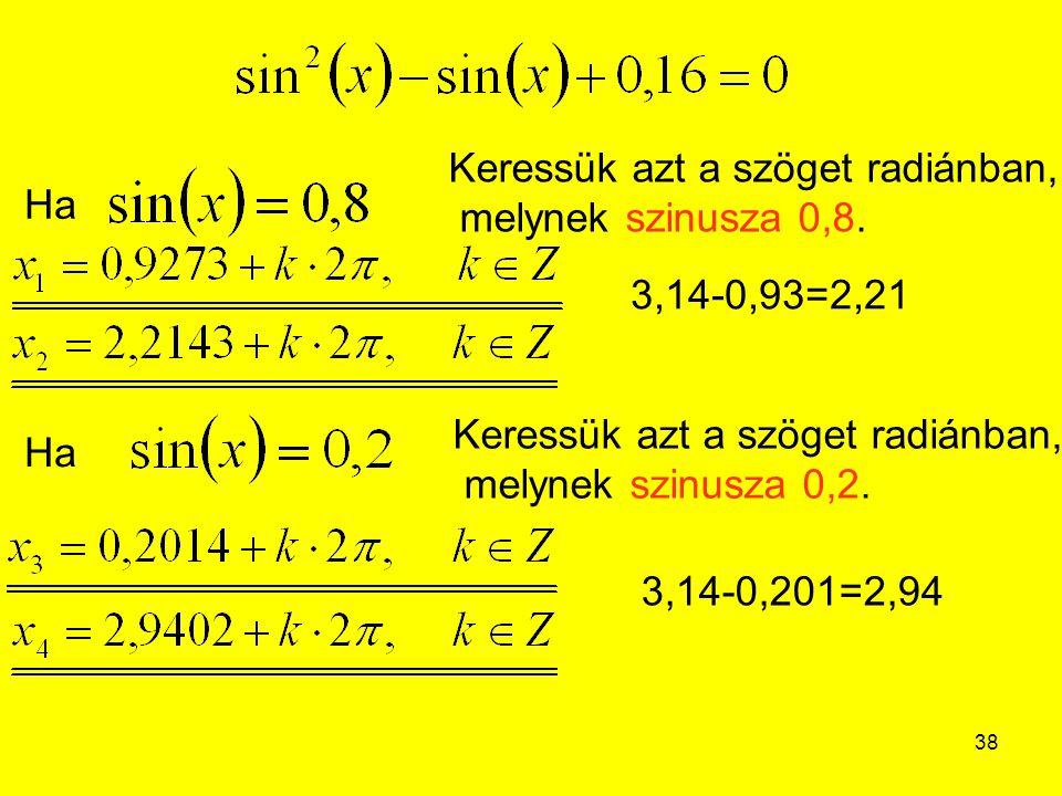 Keressük azt a szöget radiánban, melynek szinusza 0,8.