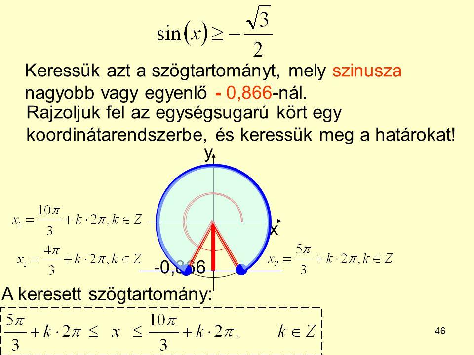 Keressük azt a szögtartományt, mely szinusza nagyobb vagy egyenlő - 0,866-nál.