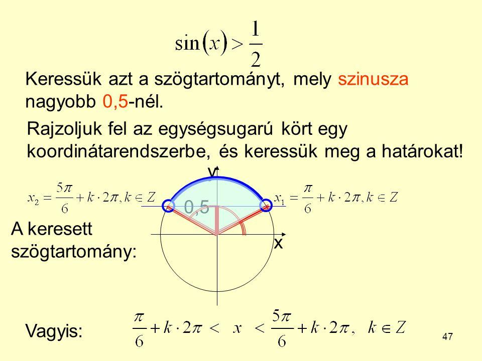 Keressük azt a szögtartományt, mely szinusza nagyobb 0,5-nél.