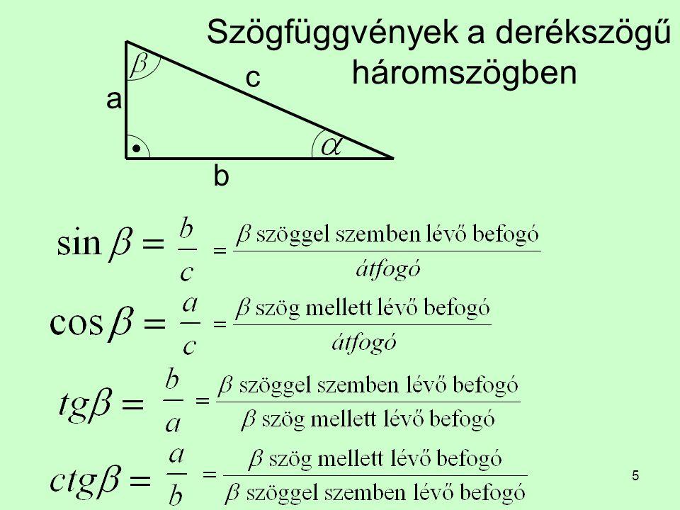 Szögfüggvények a derékszögű háromszögben