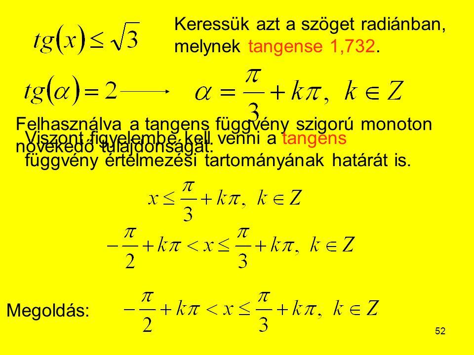 Keressük azt a szöget radiánban, melynek tangense 1,732.