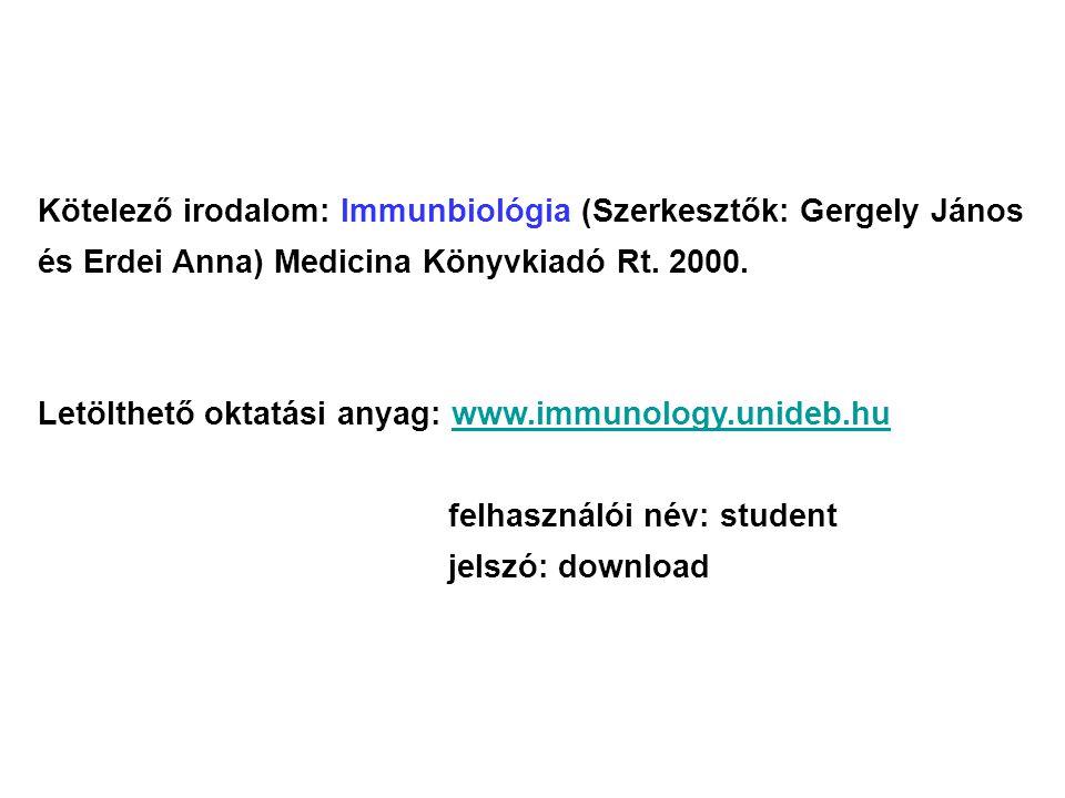 Kötelező irodalom: Immunbiológia (Szerkesztők: Gergely János