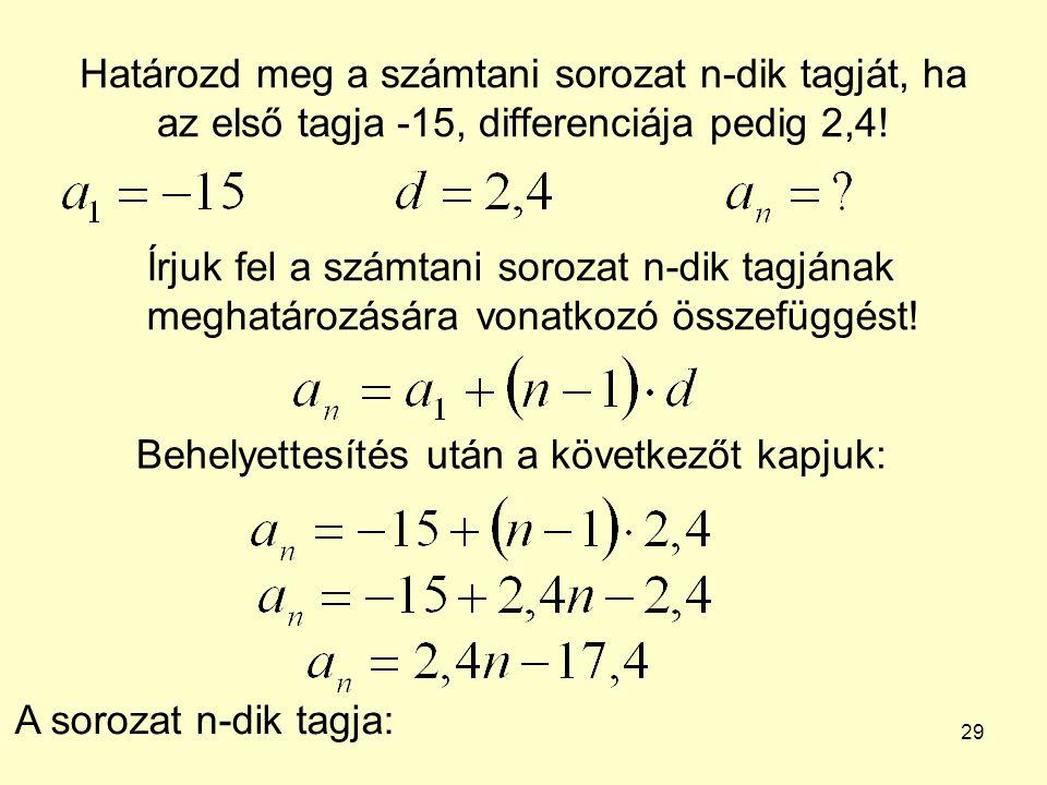 Határozd meg a számtani sorozat n-dik tagját, ha az első tagja -15, differenciája pedig 2,4!