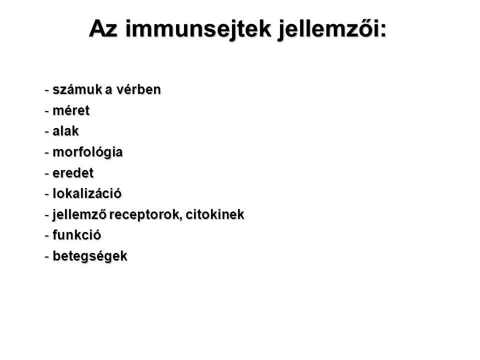 Az immunsejtek jellemzői: