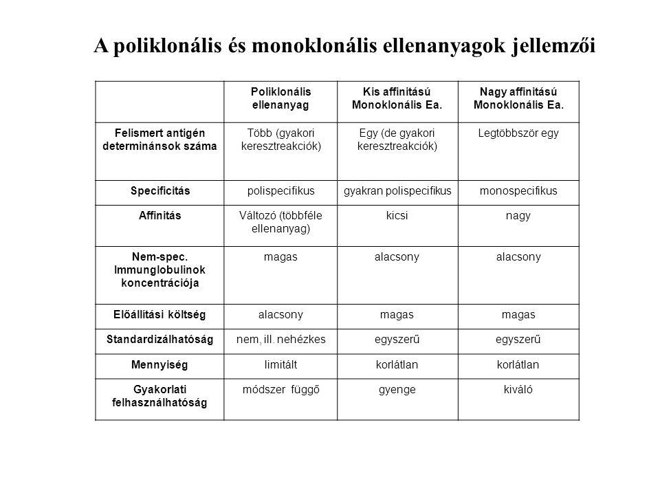 A poliklonális és monoklonális ellenanyagok jellemzői