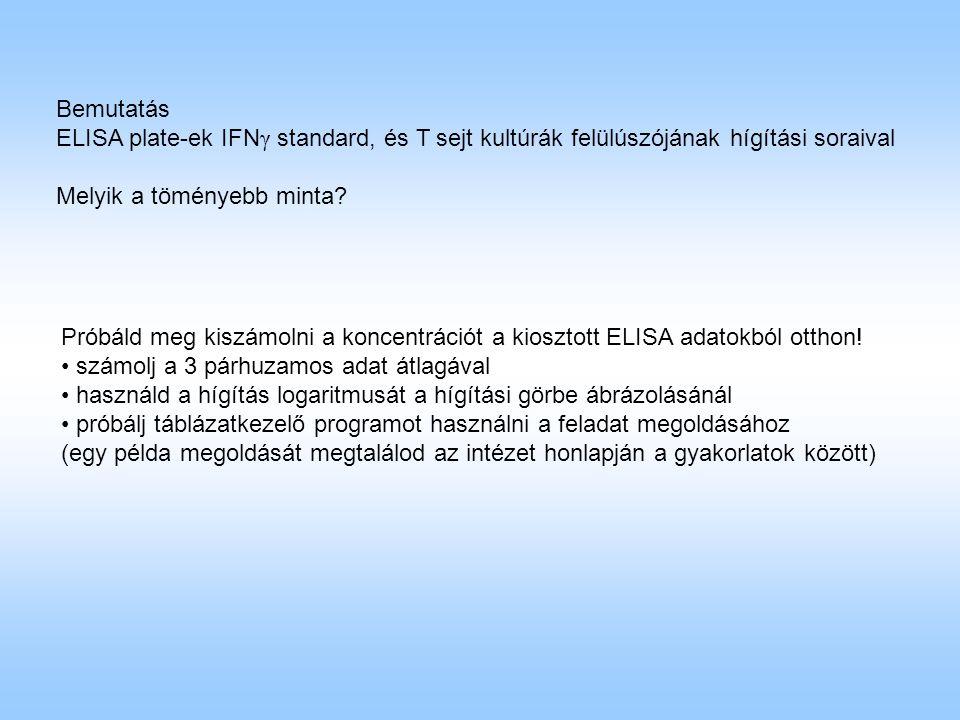 Bemutatás ELISA plate-ek IFNγ standard, és T sejt kultúrák felülúszójának hígítási soraival. Melyik a töményebb minta