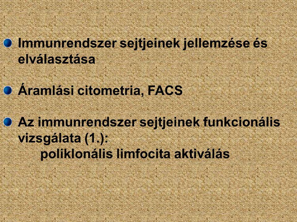 Immunrendszer sejtjeinek jellemzése és elválasztása