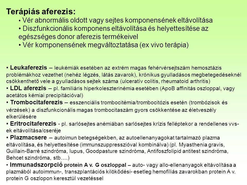 Terápiás aferezis: Vér abnormális oldott vagy sejtes komponensének eltávolítása.