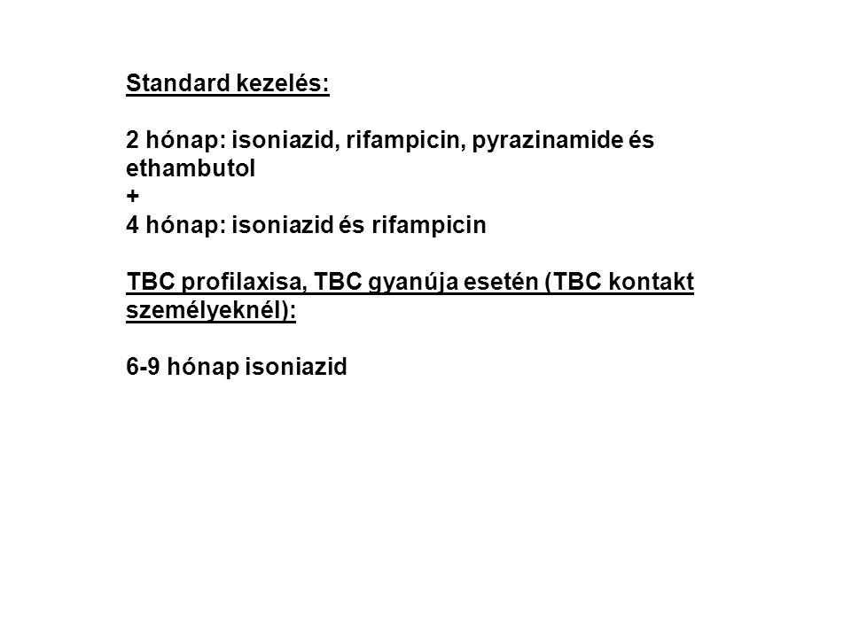 Standard kezelés: 2 hónap: isoniazid, rifampicin, pyrazinamide és ethambutol. + 4 hónap: isoniazid és rifampicin.