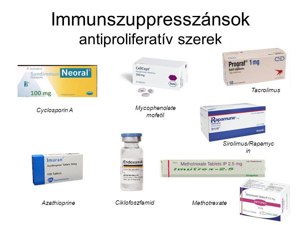 Immunszuppresszánsok antiproliferatív szerek