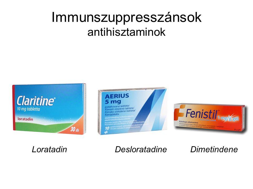 Immunszuppresszánsok antihisztaminok