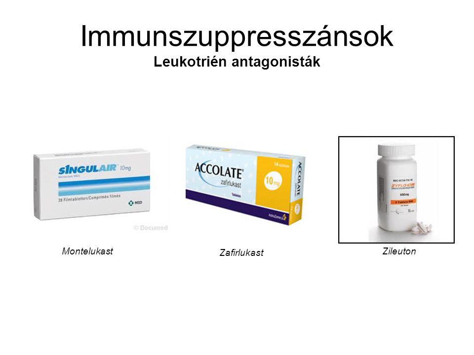 Immunszuppresszánsok Leukotrién antagonisták