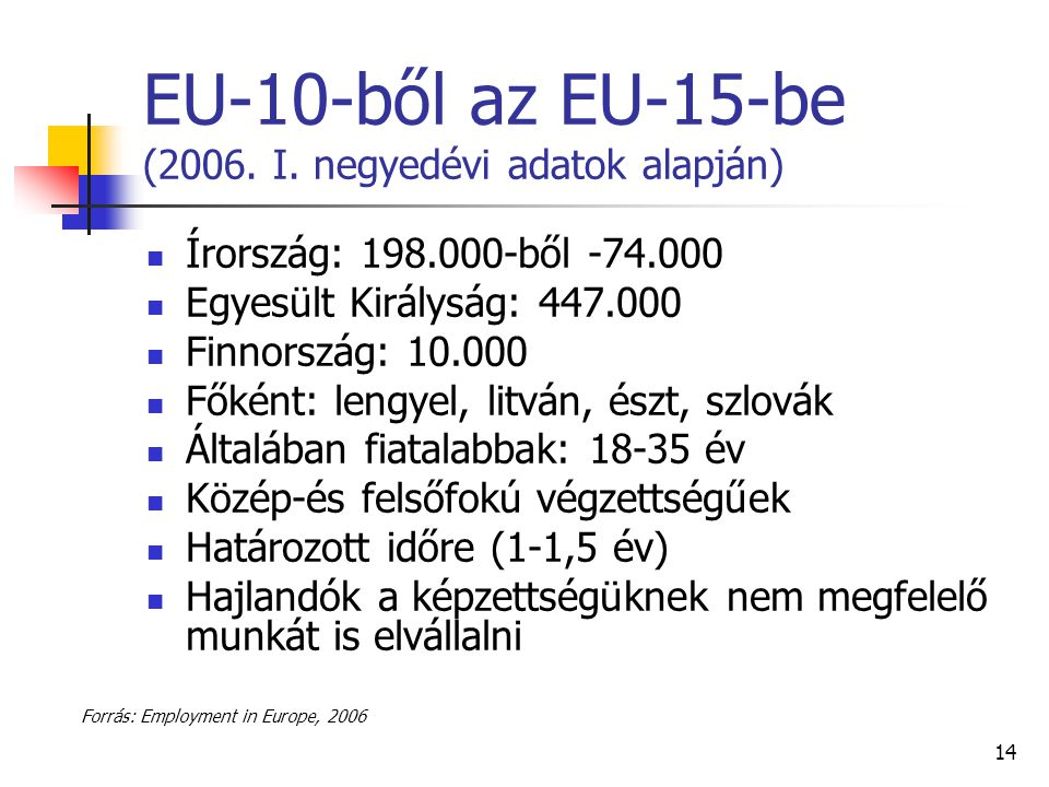 EU-10-ből az EU-15-be (2006. I. negyedévi adatok alapján)